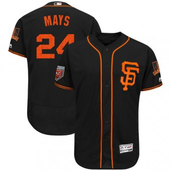 Youth Authentic San Francisco Giants Willie Mays Majestic Flex Base 2018 Spring Training Jersey - Black